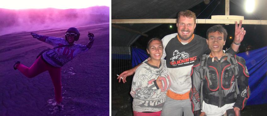 Montage photo de nous poussiéreux après notre aventure à Bromo
