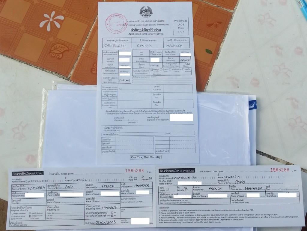 Formulaires visa Laos et entrée_sortie