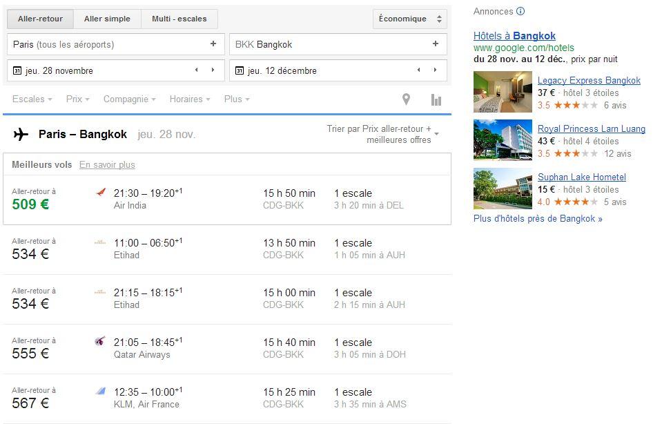 Récap des meilleurs vols Paris-Bangkok aller-retour classés par prix à partir du moins cher