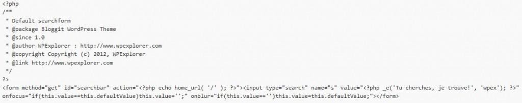 Code php de la barre de recherche du blog