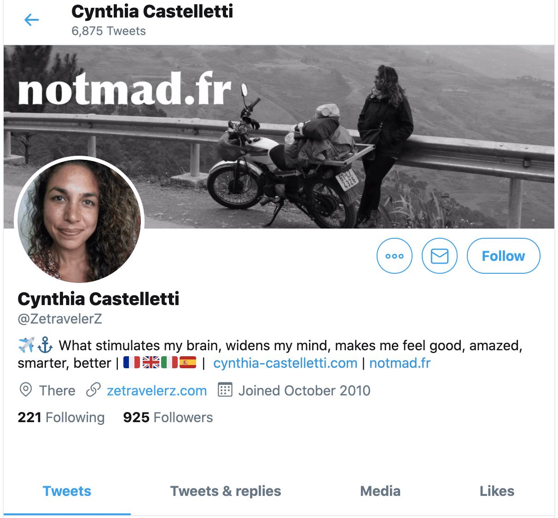 compte twitter zetravelerz cynthia castelletti