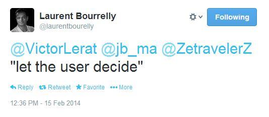 Tweet de Laurent Bourrelly let the user decide