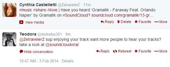 Tweet de partage de musique en anglais