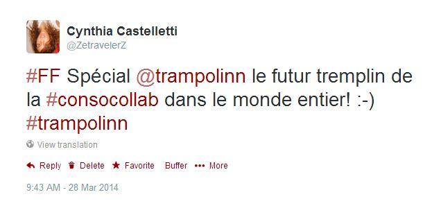 FF sur Twitter pour Tranpolinn, consommation collaborative