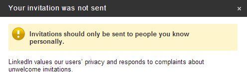 Message de refus d'envoi d'invitation sur LinkedIn