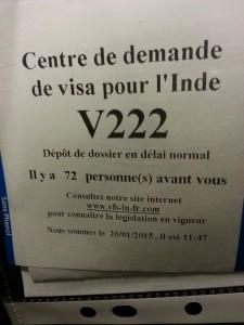 ticket pour soumission demande de visa pour l'Inde