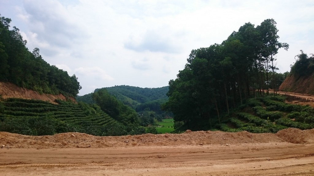 Chemin de terre, forêt, rizières, thé. Au coeur du lac Thac Ba en moto.