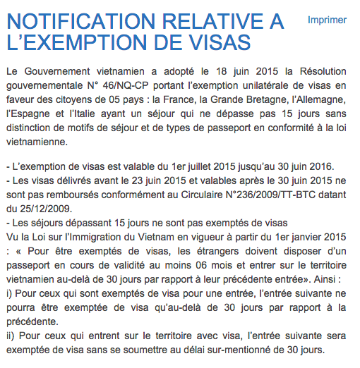 Exemption de visa pour un séjour de moins de 15 jours au Vietnam