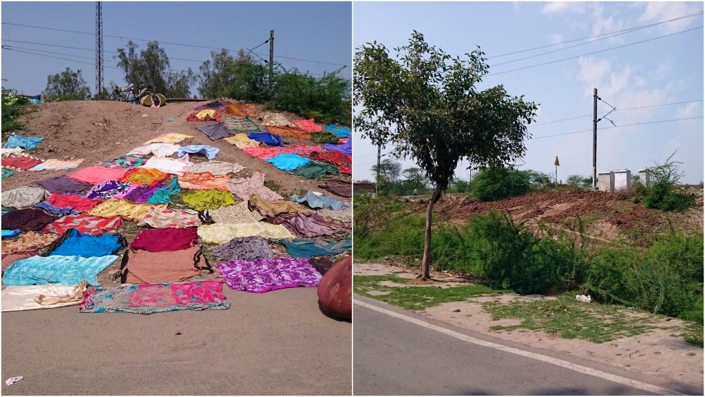 A gauche, le linge coloré qui sèche au soleil. A droite, les crottes de buffles qui sèches au soleil aussi.