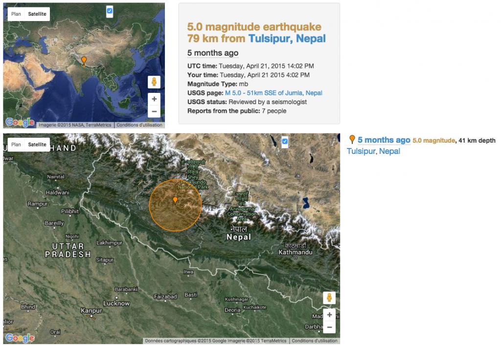 tremblement de terre du 21 avril à Bandipur