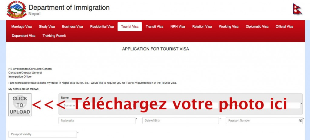 Photo identité visa tourisme népal en ligne