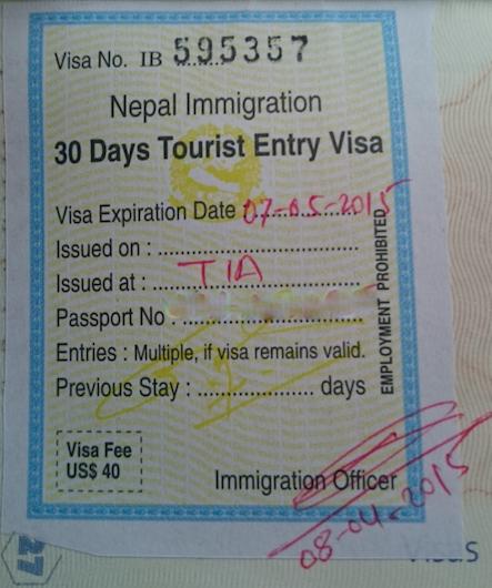 Visa touriste Népal