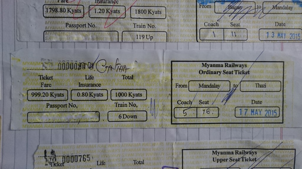 ticket de train Myanmar