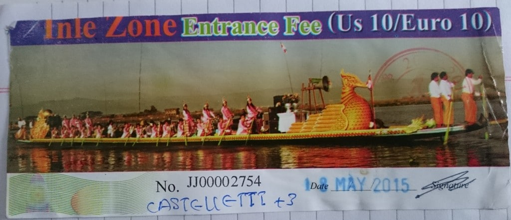 Entrance fee Inle Lake