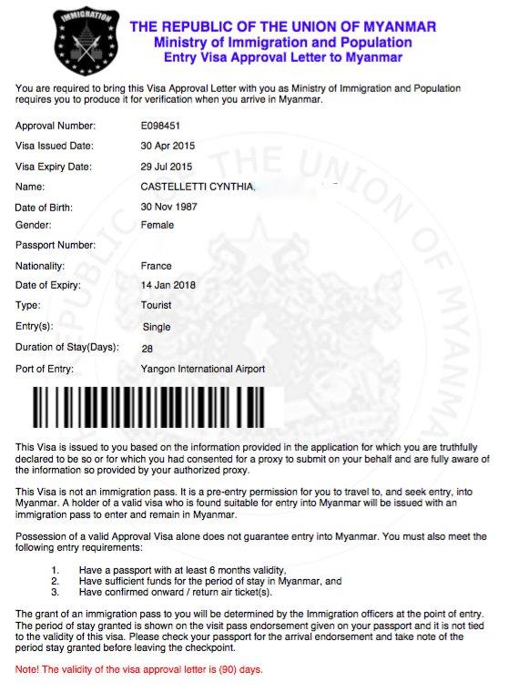 Lettre visa approuvé Myanmar