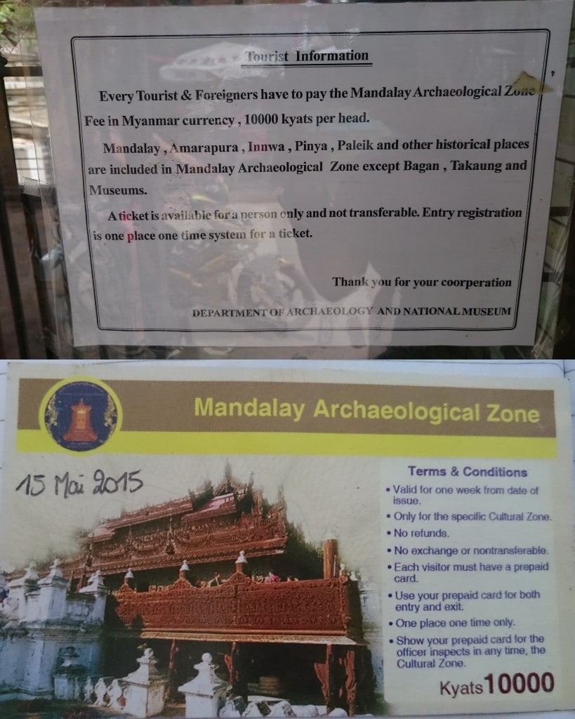 tourist fee Mandalay