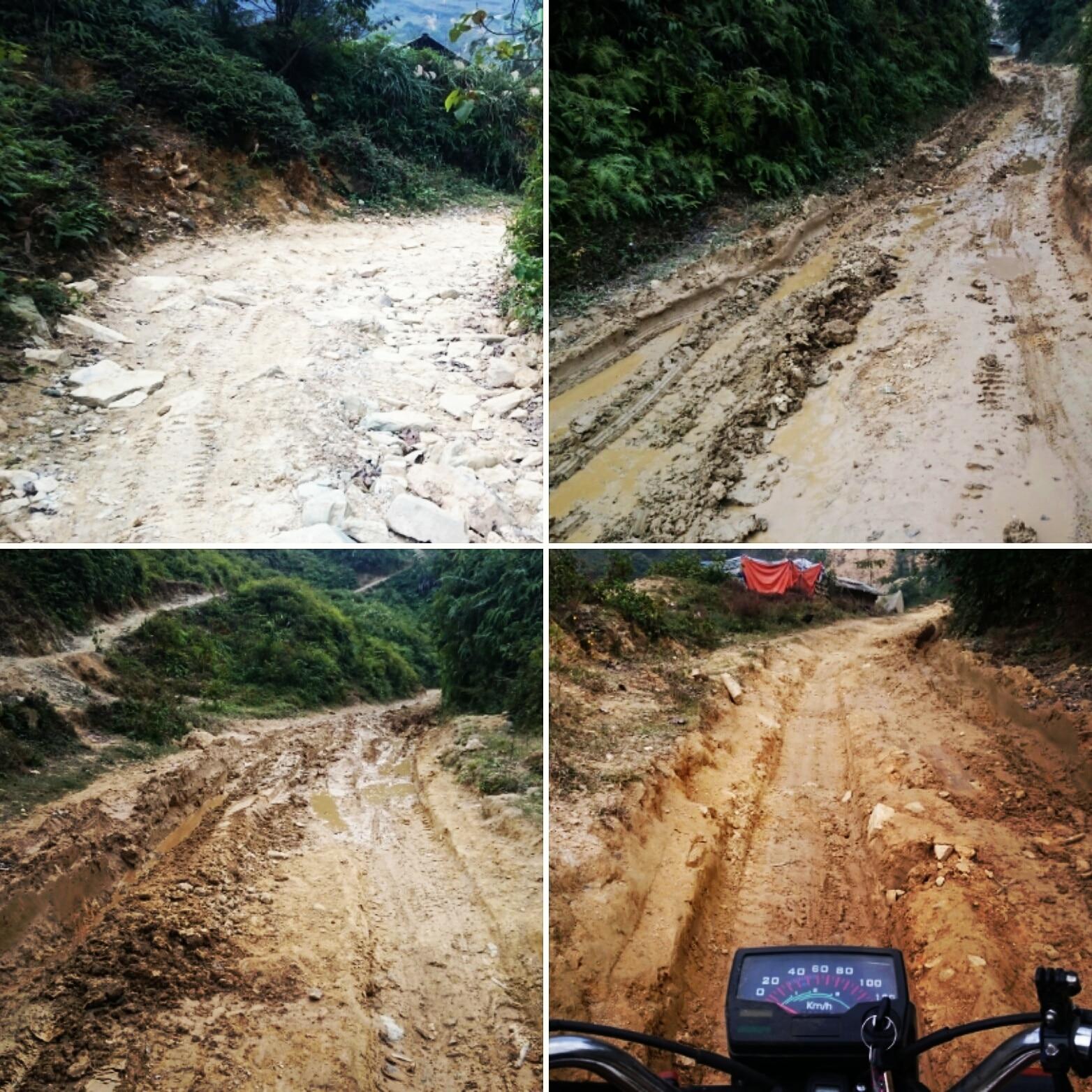 Piste boueuse et caillouteuse à moto au Vietnam