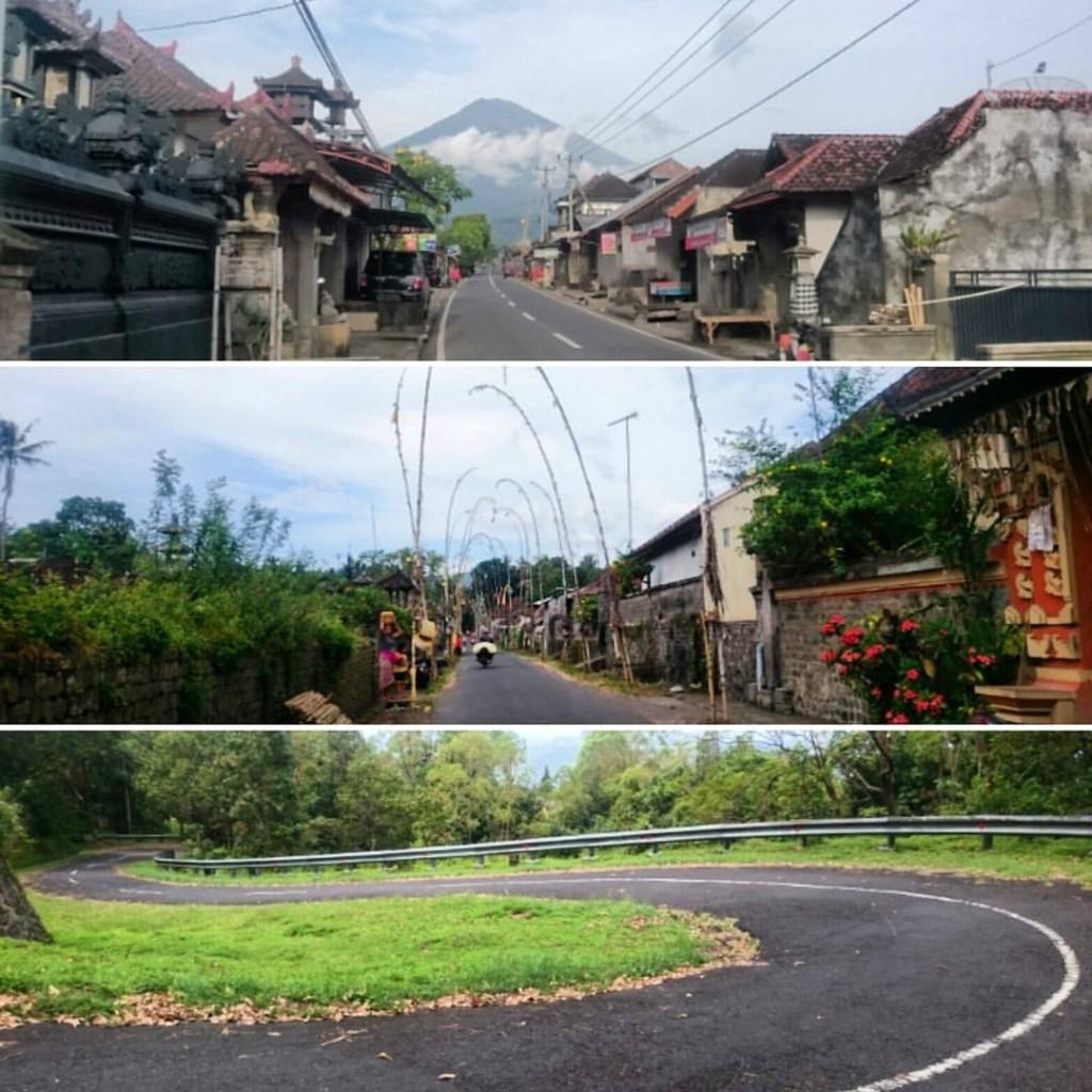 Quelques routes autour du volcan Mont Agung
