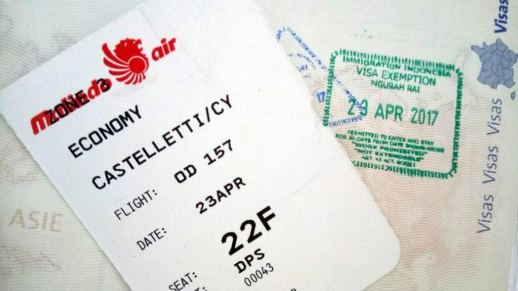 Visa & boarding pass Bali