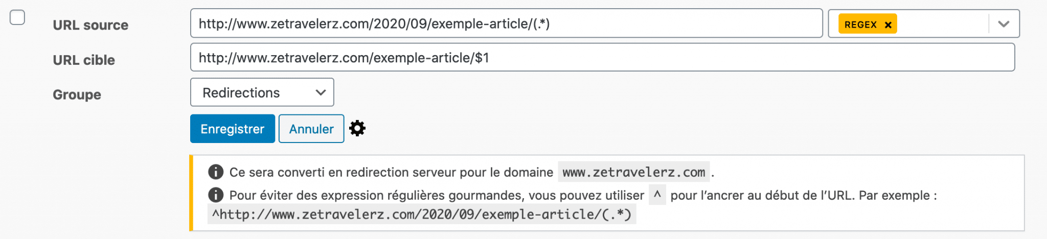 Mise en place d'une redirection regex via le plugin Redirection sur wordpress