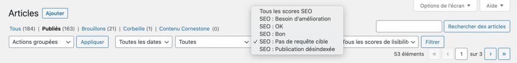 filtre de l'extension Yoast SEO dans l'admin WordPress pour trier les articles de blog selon tous les scores SEO