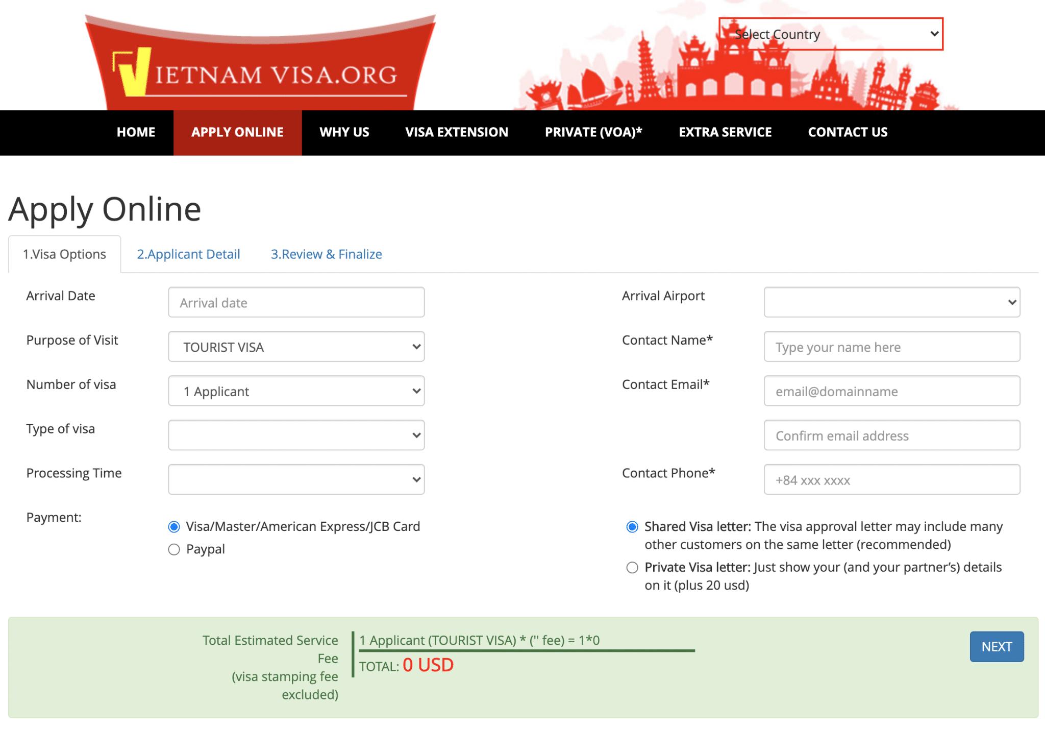 formulaire de demande de visa touriste pour le Vietnam sur le site internet vietnamvisa.org