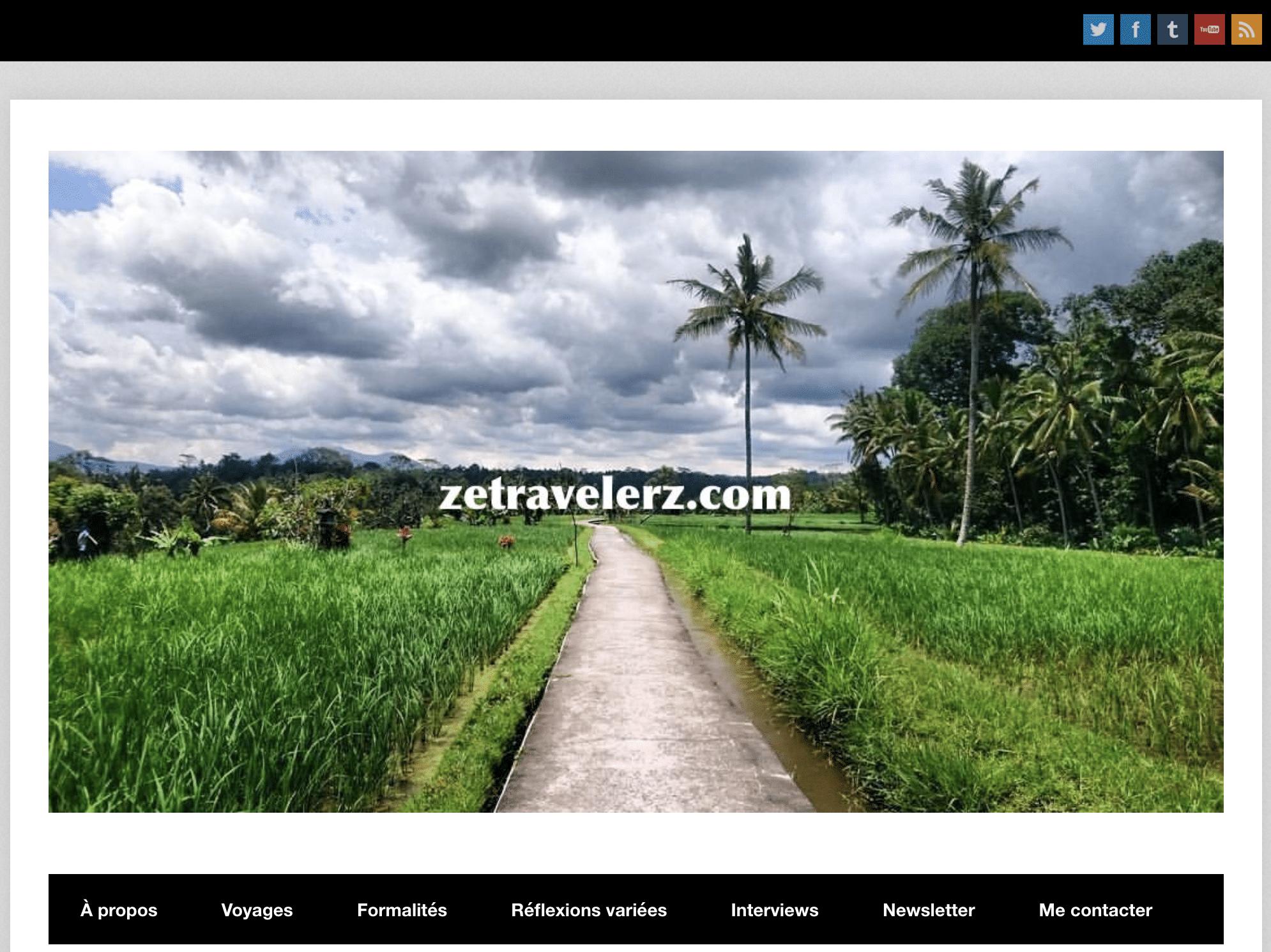 ancienne page d'accueil du blog zetravelerz