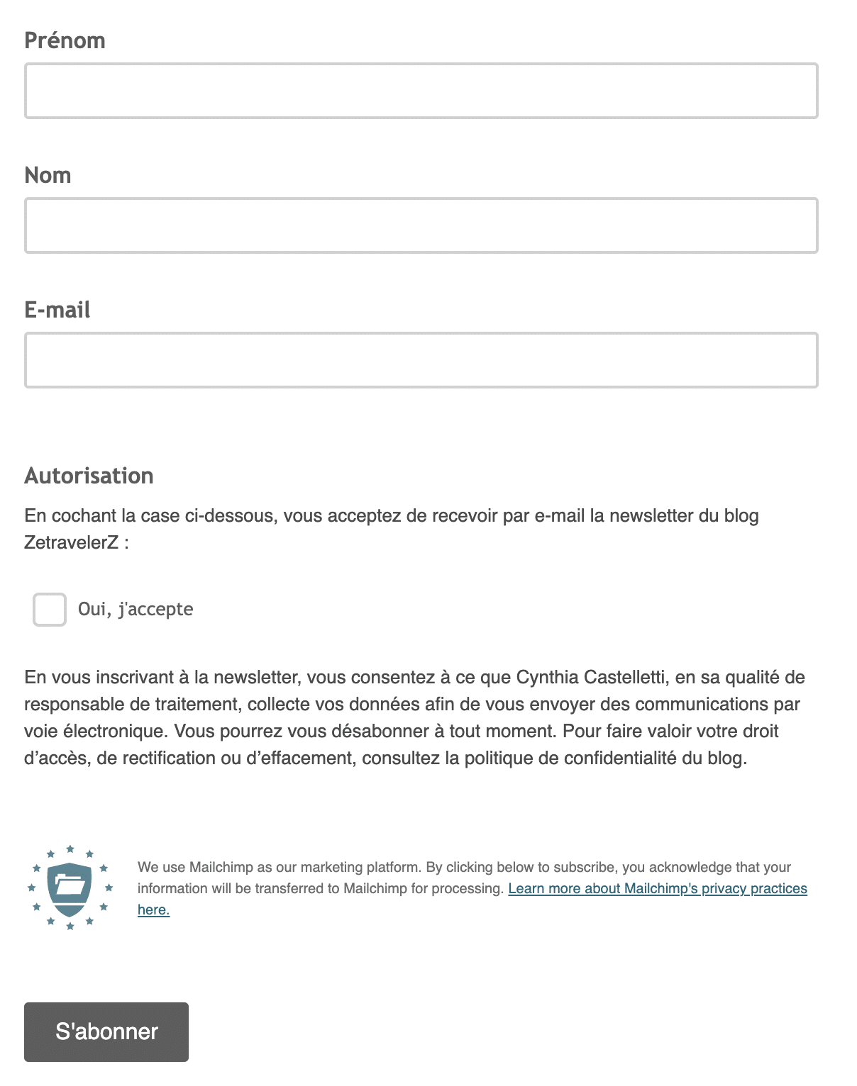 Formulaire d'inscription à la newsletter du blog zetravelerz.com